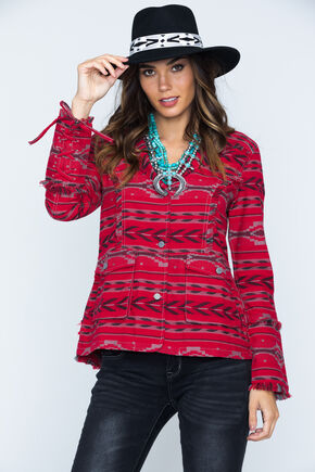 Ryan Michael Women's Beacon Blanket Jacket , Ruby, hi-res