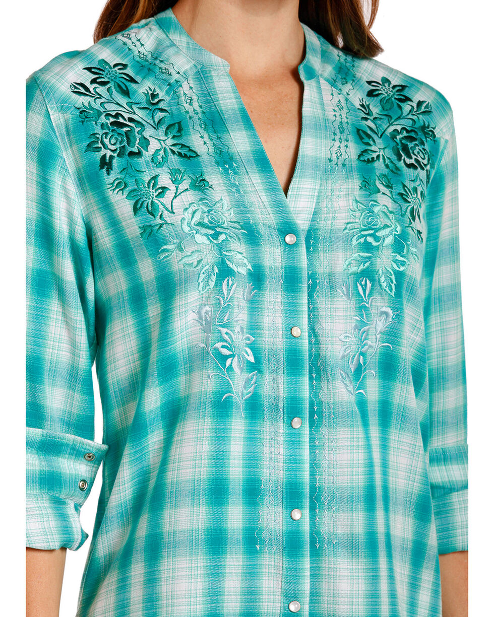 Panhandle Women's Jade Floral Embroidered Top , Jade, hi-res