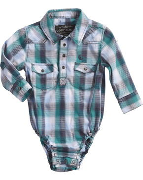 Cody James Infant Boys' Shotgun Rider Plaid Onesie, Blue, hi-res