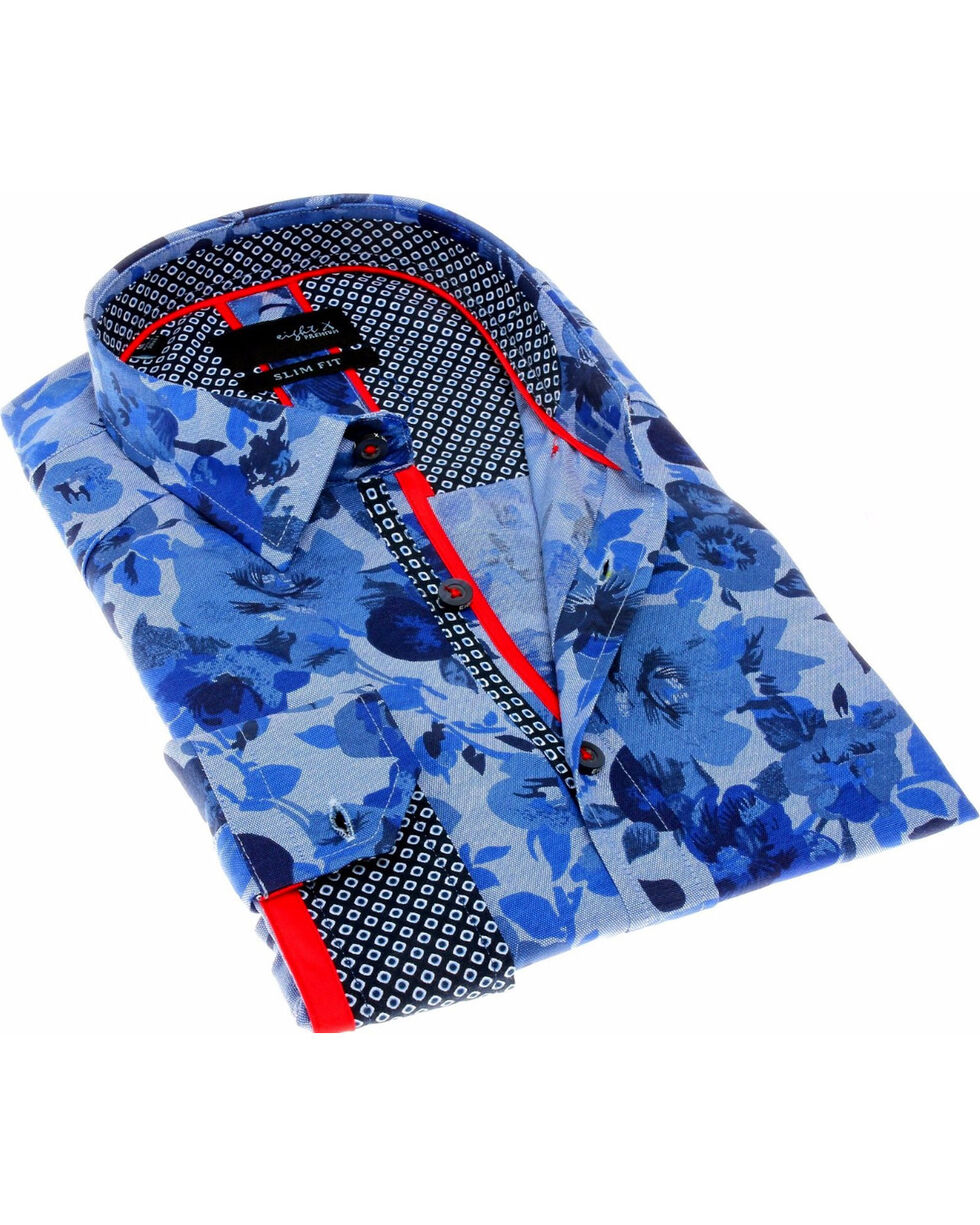 Eight X Men's Blue Floral Printed Shirt , Blue, hi-res