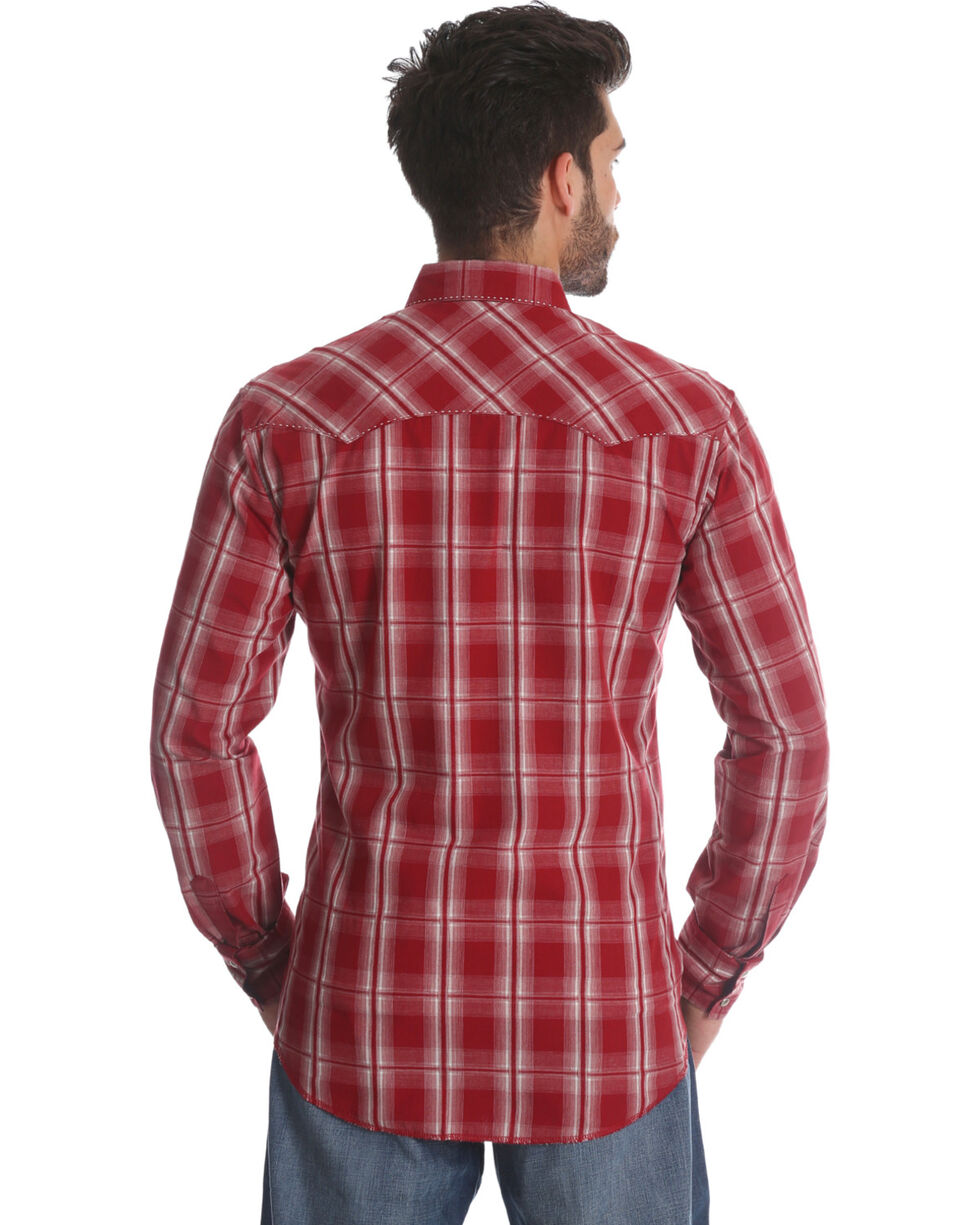 Wrangler Men's Red Plaid Long Sleeve Fashion Snap Shirt, Red, hi-res