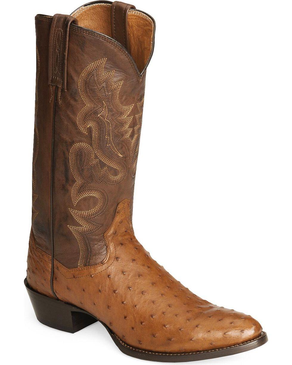Dan Post Full Quill Ostrich Cowboy Certified Boots - Medium Toe, Cognac, hi-res