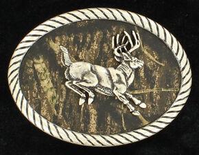 Nocona Men's Oval Jumping Buck Mossy Oak Buckle, Mossy Oak, hi-res