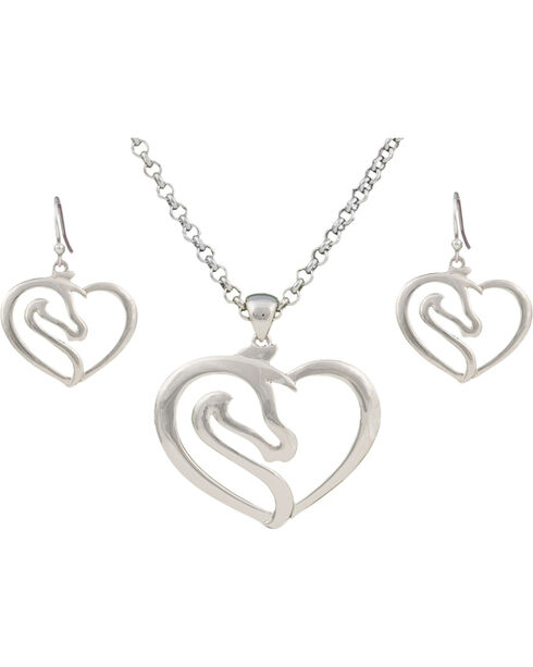 Montana Silversmiths Equestrian Heart Jewelry Set, Silver, hi-res