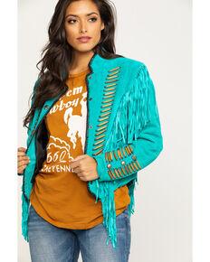 Cripple Creek Women's Turquoise Beaded Suede Fringe Military Jacket , Turquoise, hi-res