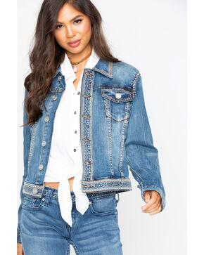 Grace in LA Women's Denim Embroidered Jacket , Indigo, hi-res