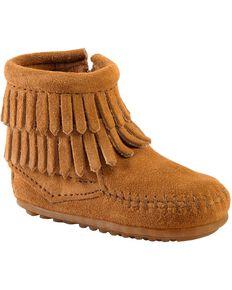 Minnetonka Infant Girls' Double Fringe Side Zip Moccasin Boots, Taupe, hi-res