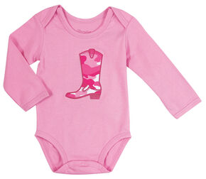 Wrangler Infant Girls' Long Sleeve Pink Cowgirl Boot Bodysuit, Pink, hi-res