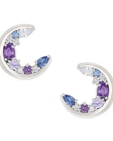 Montana Silversmiths Women's Purple Haze Cluster Moon Earrings, Silver, hi-res