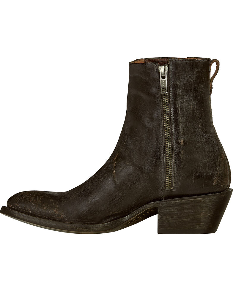 Lucchese Handmade Black Distressed Leather Adele Cowgirl Boots - Pointed Toe , Black, hi-res