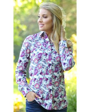 Wrangler Women's Cream Fancy Yoke Print Shirt , Cream, hi-res