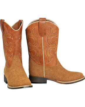 Double Barrel Boys' Rhett Rough Out Cowboy Boots - Square Toe, Natural, hi-res