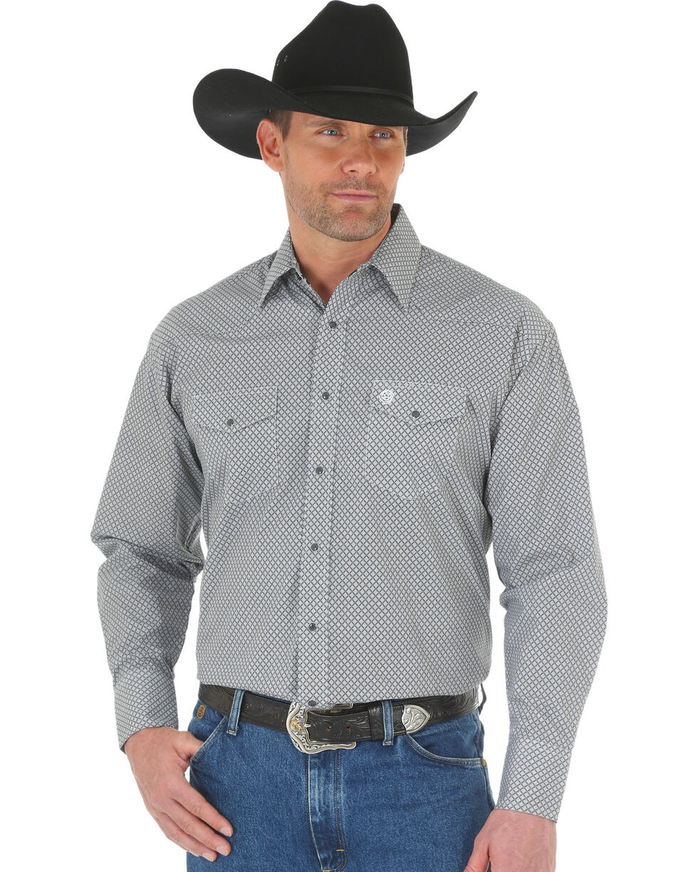 Wrangler George Strait Men's Black/White Printed Poplin Snap Shirt, Black, hi-res