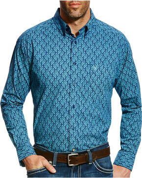 Ariat Men's Casual Series Gavriel Print Long Sleeve Button Down Shirt - Big & Tall, Blue, hi-res
