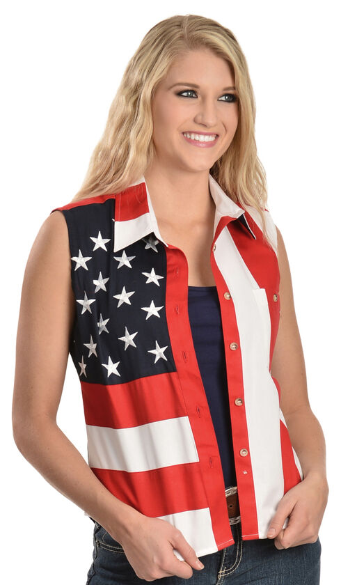 RangeWear by Scully Patriotic Sleeveless Top, Red, hi-res