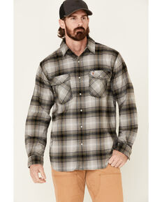 Carhartt Men's Rugged Flex Plaid Relaxed Long Sleeve Western Flannel Shirt , Grey, hi-res