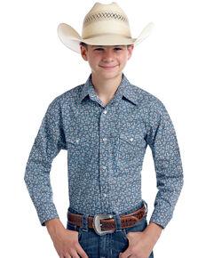 55417af6b Rough Stock By Panhandle Boys Praha Vintage Print Long Sleeve Western Shirt  , Navy, hi