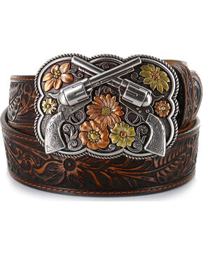 Justin Women's Bandit Queen Leather Belt, Brown, hi-res
