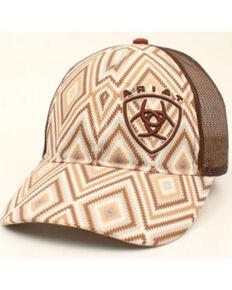 Ariat Women's Brown Aztec Print Embroidered Logo Mesh-Back Ball Cap , Brown, hi-res