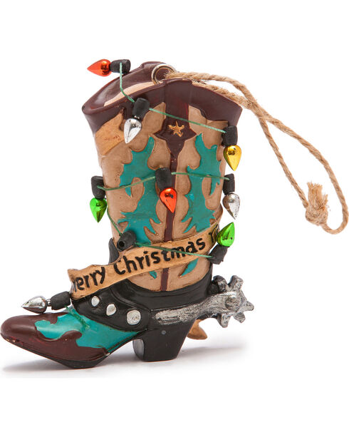 BB Ranch Light Wrapped Yellow Boot Ornament , Yellow, hi-res
