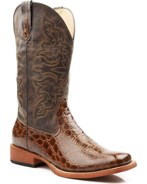 Roper Croc Print Faux Leather Cowgirl Boots - Square Toe, Tan, hi-res