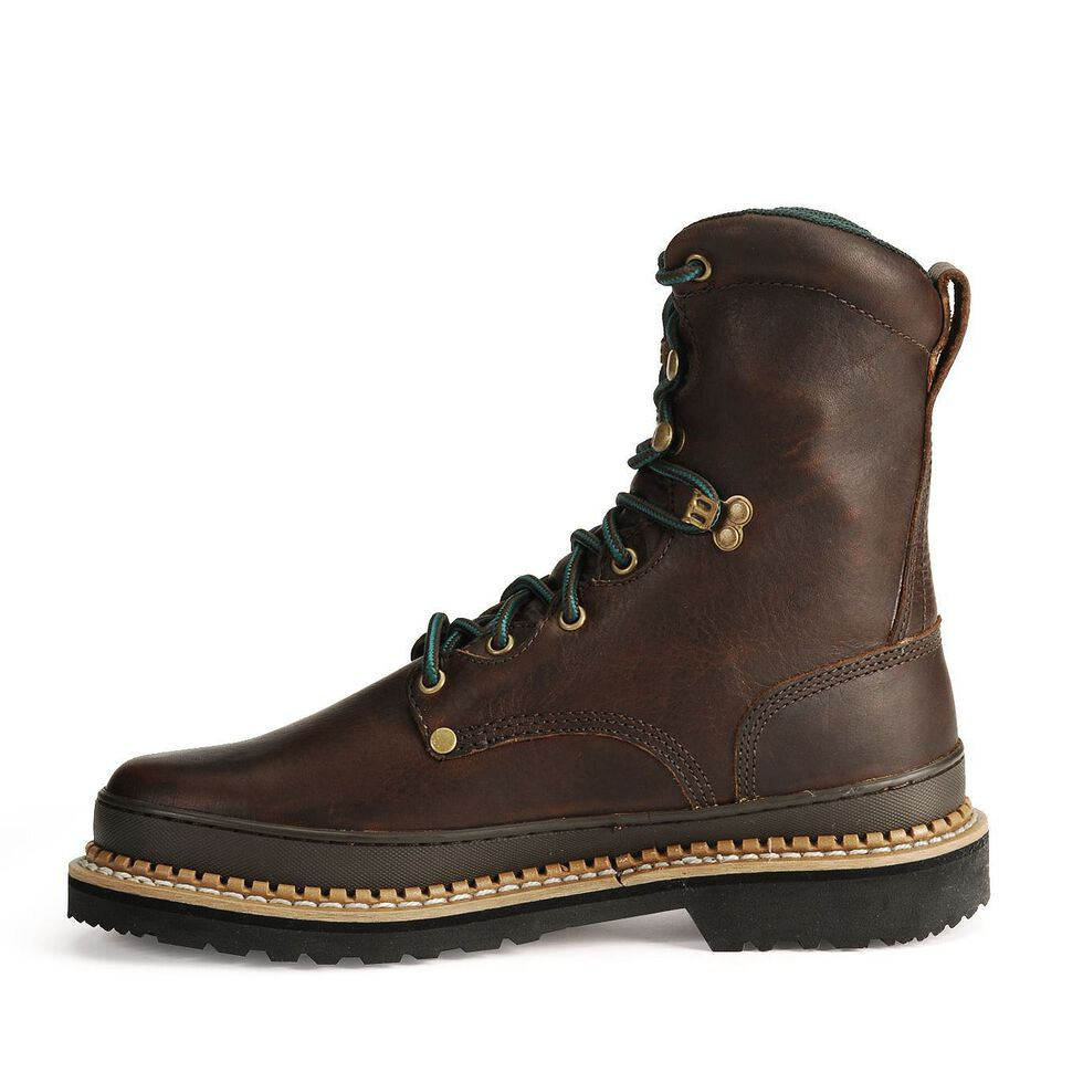 """Georgia Giant 8"""" Lace-Up Work Boots - Steel Toe, Brown, hi-res"""