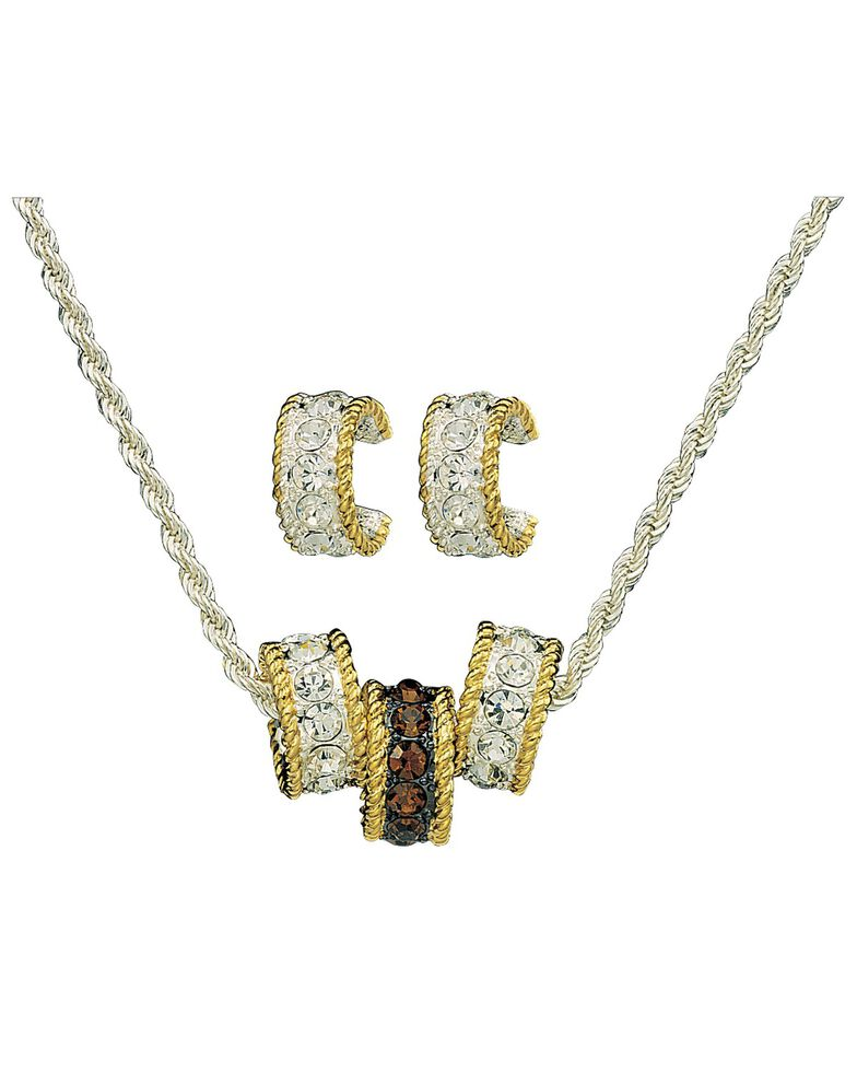 Montana Silversmiths Topaz Crystal Triple Rings Necklace & Earrings Set, Silver, hi-res