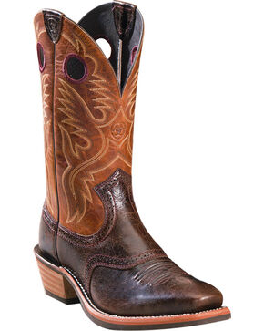 Ariat Men's Embroidered Western Boots - Square Toe, Dark Brown, hi-res