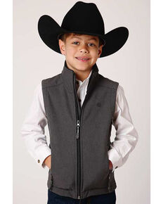 Roper Boys' Heather Grey Softshell Bonded Fleece Lined Vest , Grey, hi-res