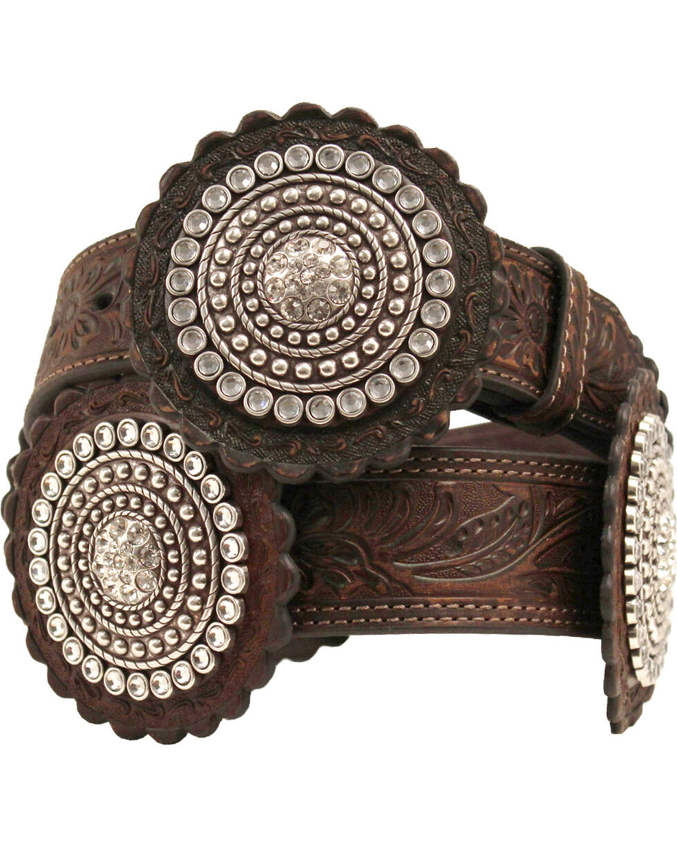Nocona Embossed Rosette Concho Belt, Brown, hi-res