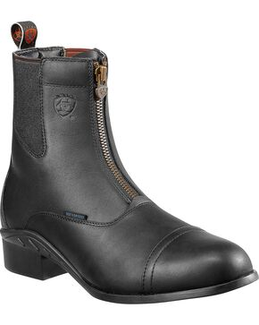 Ariat Heritage Waterproof Paddock Zip-Up Boots - Round Toe, Black, hi-res