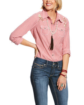 Ariat Women's R.E.A.L. Embroidered Check Plaid Long Sleeve Western Shirt - Plus, Coral, hi-res
