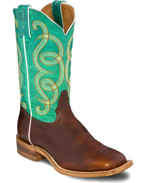 Tony Lama Women's Adina Scalloped Cowgirl Boots - Square Toe , Green, hi-res