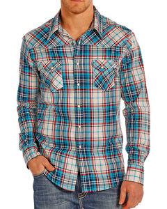 Rock & Roll Cowboy Men's Crinkle Plaid Long Sleeve Shirt, Cream, hi-res