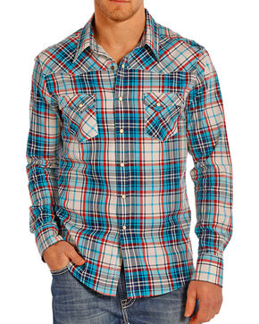 Rock & Roll Cowboy Men's Crinkle Plaid Long Sleeve Shirt, Cream, hi-res