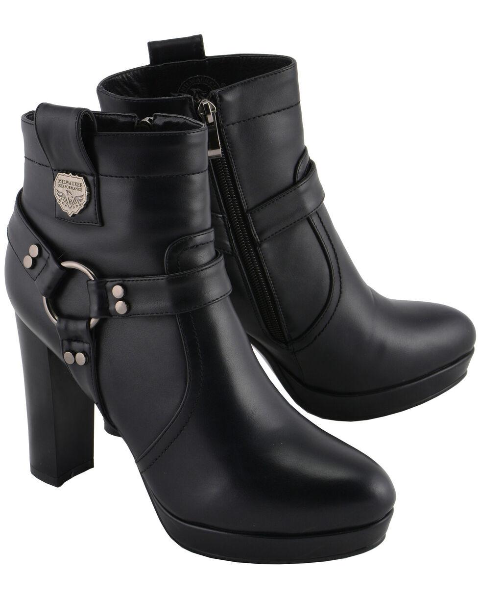 Milwaukee Leather Women's Block Heel Harness Ankle Boots - Medium Toe, Black, hi-res