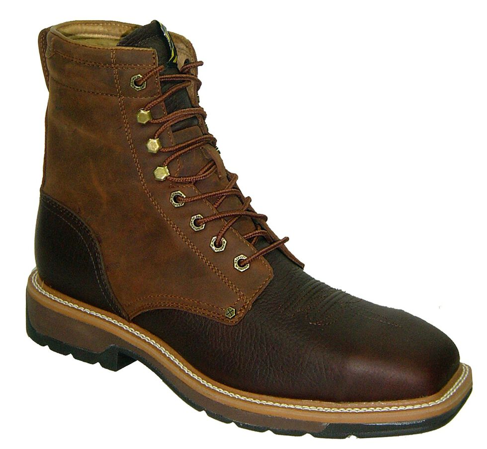 """Twisted X Lite 8"""" Lace-Up Waterproof Work Boots - Steel Toe, Oiled Rust, hi-res"""