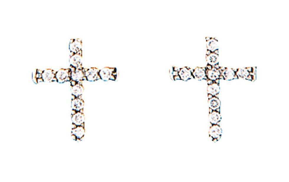 Montana Silversmiths Rhinestone Cross Earrings, Silver, hi-res