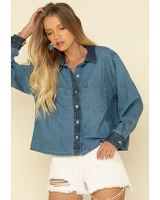 Levi's Women's Denim Puff Long Sleeve Crop Western Shirt, Light Blue, hi-res