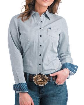 Cinch Women's Light Blue Striped Western Shirt , Light Blue, hi-res