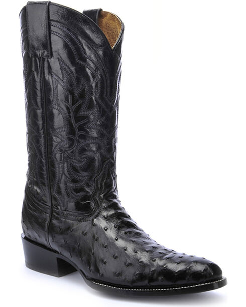 Circle G Full Quill Ostrich Cowboy Boots - Round Toe , Black, hi-res