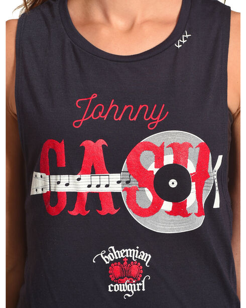 Bohemian Cowgirl Women's Navy Johnny Cash Tank Top , Navy, hi-res
