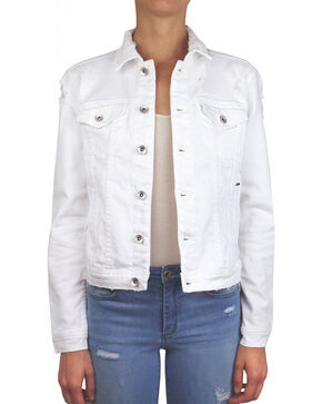 Tractr Blu Women's White Minor Destruction Denim Jacket , White, hi-res
