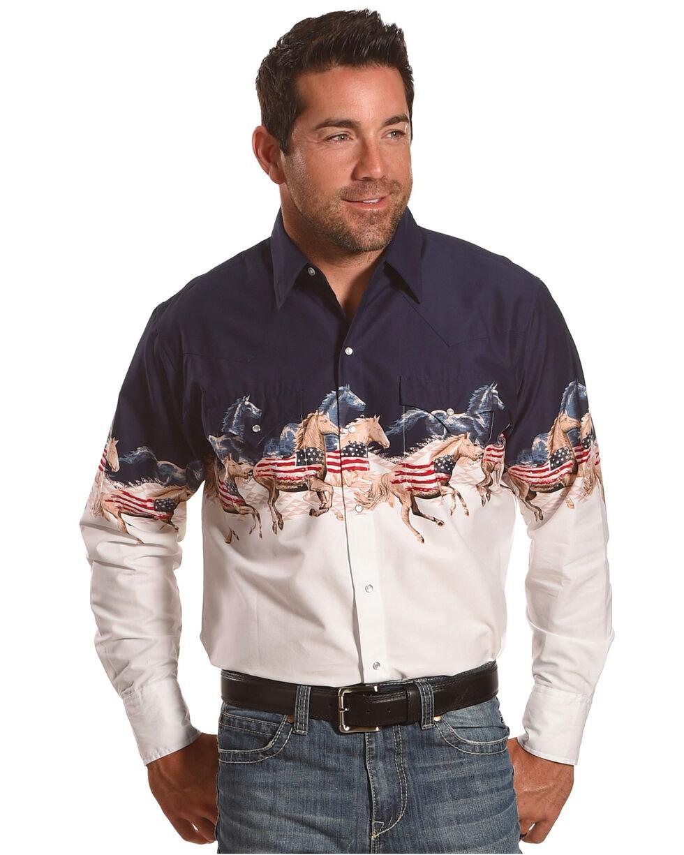 Ely Cattleman Men's Navy Patriotic Border Shirt , Navy, hi-res
