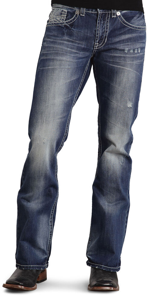 Stetson Rock Fit Bold X Stitched Jeans, Med Wash, hi-res