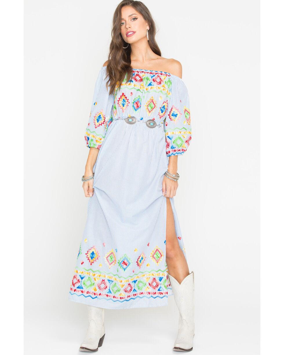 CES FEMME Women's Blue Embroidered Maxi Dress, Blue, hi-res