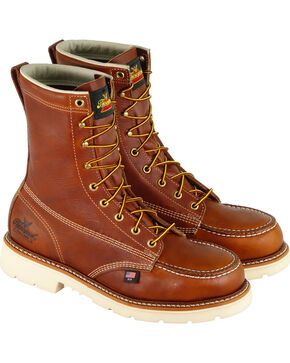 "Thorogood Men's American Heritage Classics 8"" Work Boots - Steel Toe , Brown, hi-res"