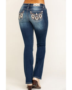 Miss Me Women's Dark Wash Aztec Flap Pocket Bootcut Jeans, Blue, hi-res