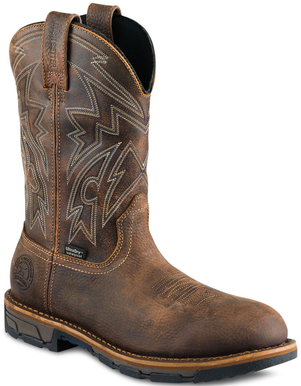 Irish Setter by Red Wing Shoes Men's Marshall Distressed Work Boots - Round Toe  , Brown, hi-res
