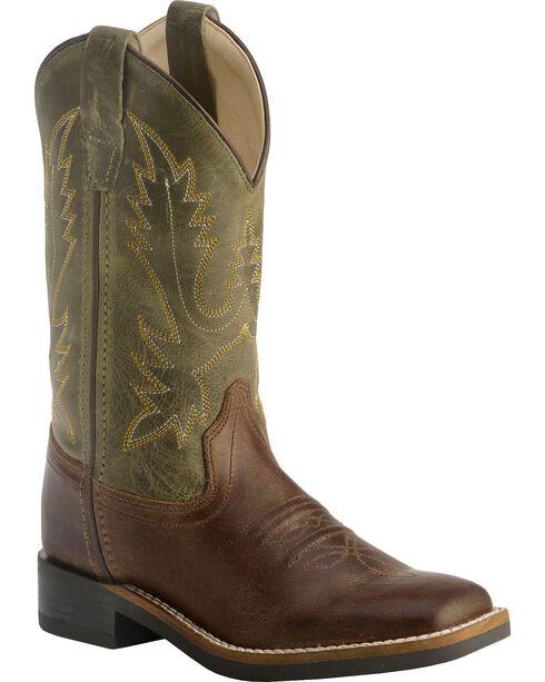 Old West Children's Stiched Olive Cowboy Boots - Square Toe, Barnwood, hi-res
